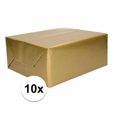 10x inpakpapier/cadeaupapier goud 200 x 70 cm op rol