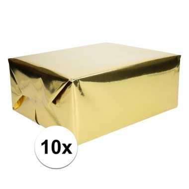 10x inpakpapier/cadeaupapier goud metallic 400 x 50 cm op rol