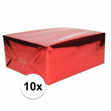 10x inpakpapier/cadeaupapier rood metallic 400 x 50 cm op rol