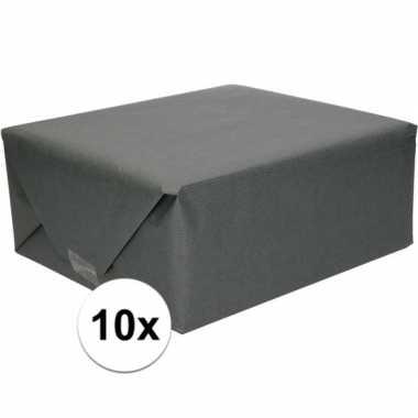 10x inpakpapier/cadeaupapier zwart kraftpapier 200 x 70cm rollen