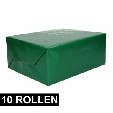10x rollen inpakpapier/cadeaupapier groen 200 x 70 cm op rol