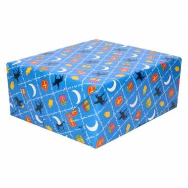 10x sinterklaas inpakpapier/cadeaupapier print blauw 250 x 70 cm