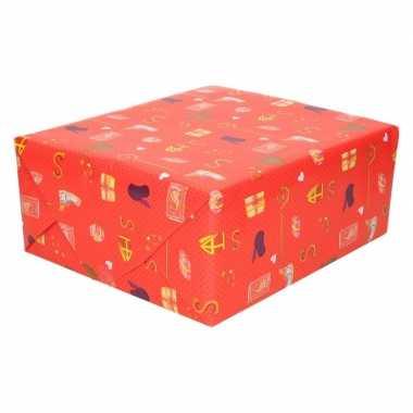 10x sinterklaas inpakpapier/cadeaupapier print rood 250 x 70 cm