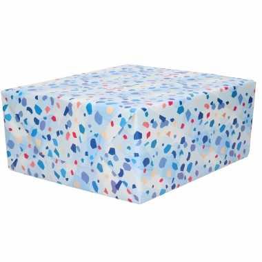 1x inpakpapier/cadeaupapier blauw met steenachtige stippen motief 200 x 70 cm rol