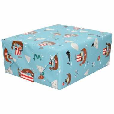 1x inpakpapier/cadeaupapier blauw vikings 200 x 70 cm rollen