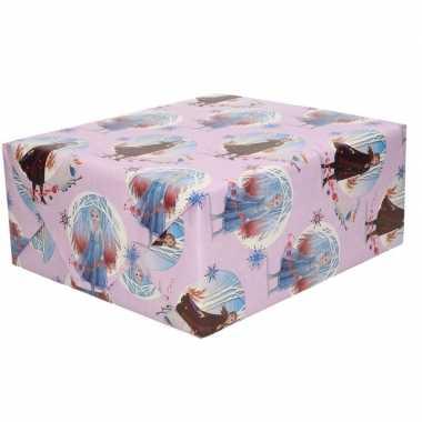 1x inpakpapier/cadeaupapier disney frozen lila 200 x 70 cm rollen