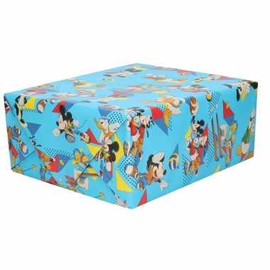 1x inpakpapier/cadeaupapier disney mickey mouse sports blauw 200x70 cm rollen