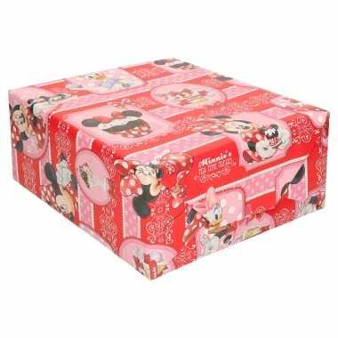 1x inpakpapier/cadeaupapier disney minnie mouse/katrien duck 200x70 cm op rol