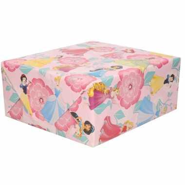 1x inpakpapier/cadeaupapier disney prinsessen roze 200x70 cm op rol