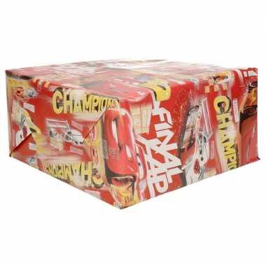 1x inpakpapier/cadeaupapier disney rood cars champions 200 x 70 cm rollen