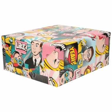 1x inpakpapier / cadeaupapier gekleurd met comic book / stripverhaal thema 200 x 70 cm