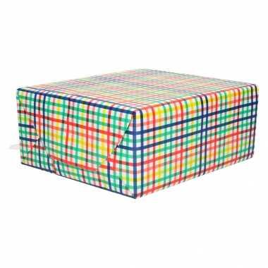 1x inpakpapier/cadeaupapier gekleurd ruiten patroon 200 x 70 cm rollen
