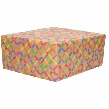 1x inpakpapier/cadeaupapier gekleurde ruiten urban nature 200 x 70 cm rollen