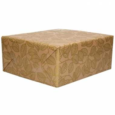 1x inpakpapier/cadeaupapier gouden bladeren urban nature 200 x 70 cm rollen