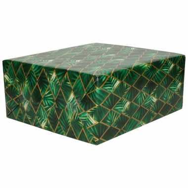 1x inpakpapier/cadeaupapier groen met gouden ruit en bladeren motief 200 x 70 cm rol