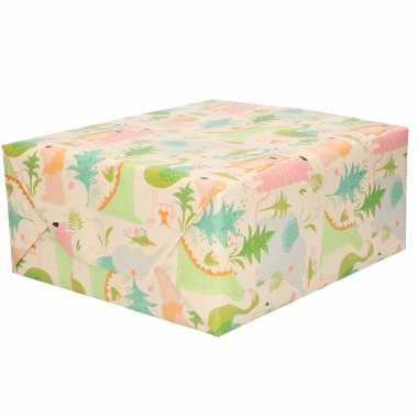 1x inpakpapier / cadeaupapier pastel tinten jungle dieren thema 200 x 70 cm