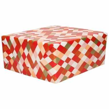 1x inpakpapier/cadeaupapier roze/rood/goud ruiten motief 200 x 70 cm rol