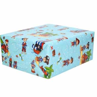 1x inpakpapier kinder verjaardag blauw met piraten thema 200 x 70 cm