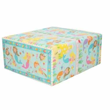 1x inpakpapier kinder verjaardag blauw met zeemeerminnen thema 200 x 70 cm