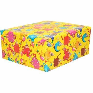 1x inpakpapier kinder verjaardag geel met gekleurde monsters 200 x 70 cm
