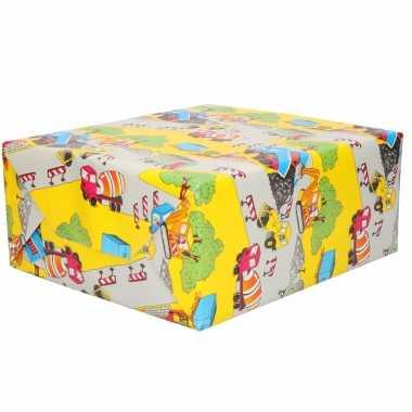 1x inpakpapier kinder verjaardag geel met weg werkzaamheden thema 200 x 70 cm