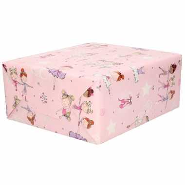 1x inpakpapier kinder verjaardag roze met ballet danseresjes 200 x 70 cm