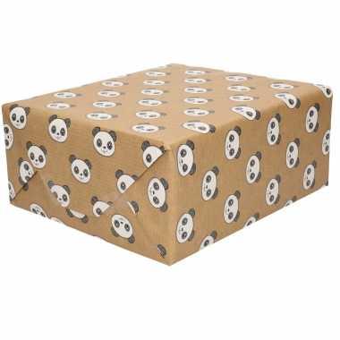 1x rol inpakpapier/cadeaupapier bruin panda beren print 200 x 70 cm op rol