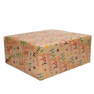 1x rol inpakpapier/cadeaupapier happy birthday urban nature 200 x 70 cm rollen