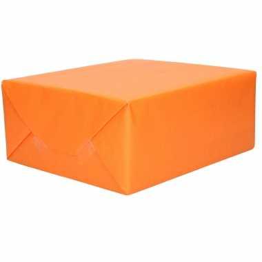 1x rol kraft inpakpapier oranje 200 x 70 cm