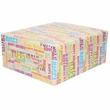 1x rollen happy birthday cadeaupapier/inpakpapier gekleurde tekst 200 x 70 cm
