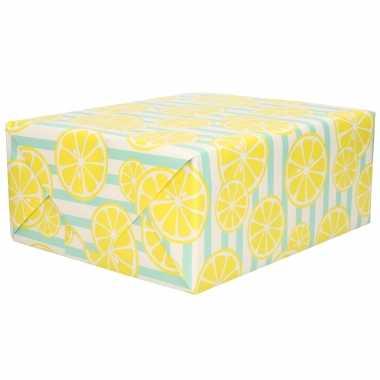 1x rollen inpakpapier/cadeaupapier blauwe strepen en citroenen print 200 x 70 cm