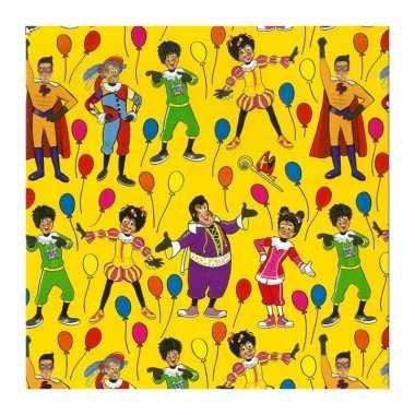 1x rollen inpakpapier/cadeaupapier club van sinterklaas geel 200 x 70 cm