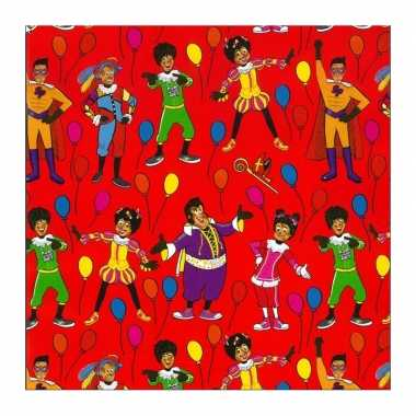 1x rollen inpakpapier/cadeaupapier club van sinterklaas rood 200 x 70 cm