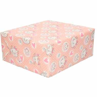 1x rollen inpakpapier/cadeaupapier disney aristokatten marie met hartjes 200 x 70 cm roze
