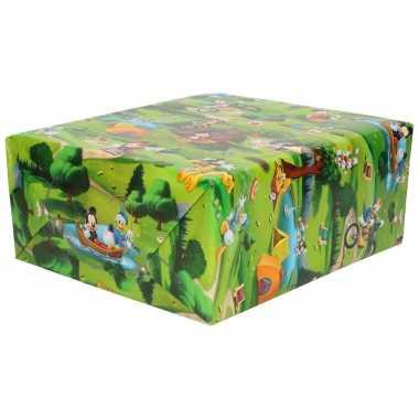 1x rollen inpakpapier/cadeaupapier disney familie avonturen 200x70 cm
