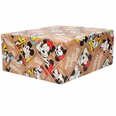 1x rollen inpakpapier/cadeaupapier disney friends minnie mouse donald en pluto bruin 200 x 70 cm
