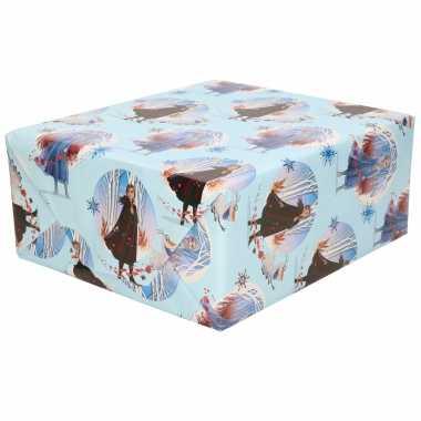 1x rollen inpakpapier / cadeaupapier disney frozen blauw 200 x 70 cm