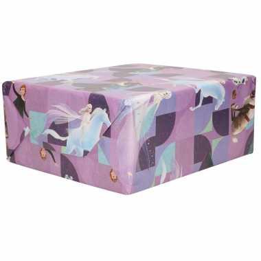 1x rollen inpakpapier/cadeaupapier disney frozen paars 200 x 70 cm