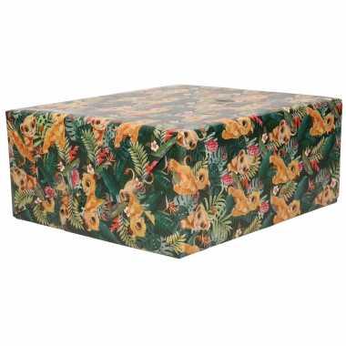 1x rollen inpakpapier/cadeaupapier disney lion king simba groen 200 x 70 cm
