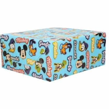 1x rollen inpakpapier/cadeaupapier disney mickey donald pluto blauw 200 x 70 cm
