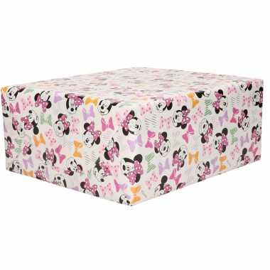 1x rollen inpakpapier/cadeaupapier disney minnie mouse met haar strikjes roze 200 x 70 cm