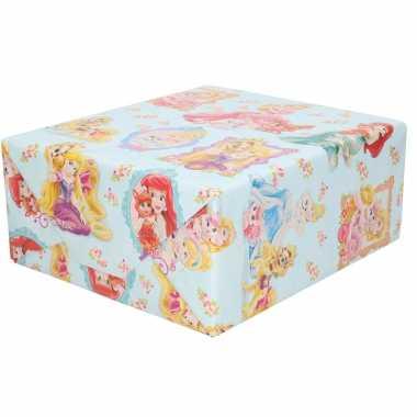 1x rollen inpakpapier/cadeaupapier disney princess 200 x 70 cm blauw