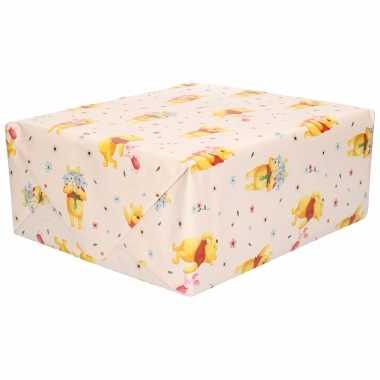 1x rollen inpakpapier/cadeaupapier disney winnie de poeh en knorretje licht geel 200 x 70 cm