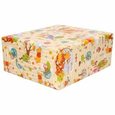 1x rollen inpakpapier/cadeaupapier disney winnie de poeh herfst thema geel 200 x 70 cm