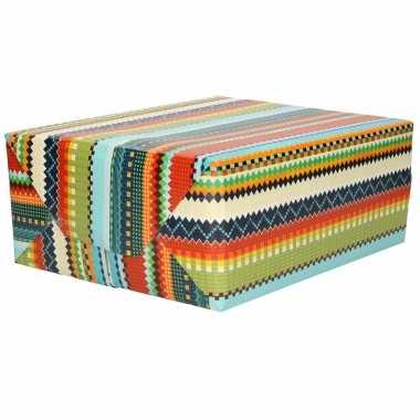 1x rollen inpakpapier/cadeaupapier gekleurde zigzag patronen print 200 x 70 cm