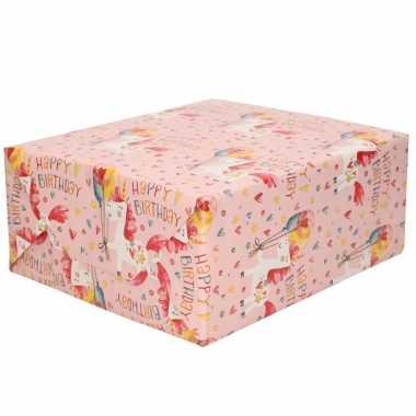 1x rollen inpakpapier/cadeaupapier roze met eenhoorn happy birthday print 200 x 70 cm rol