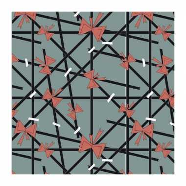 1x rollen inpakpapier/cadeaupapier strikjes en lijnen groen 200 x 70 cm