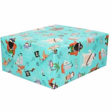 1x rollen inpakpapier/cadeaupapier turquoise met piraten print 200 x 70 cm rol