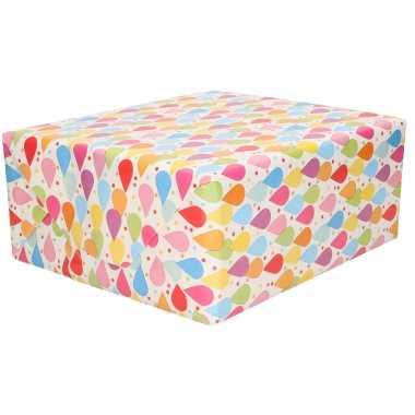 1x rollen inpakpapier/cadeaupapier wit met gekleurde druppels design 200 x 70 cm