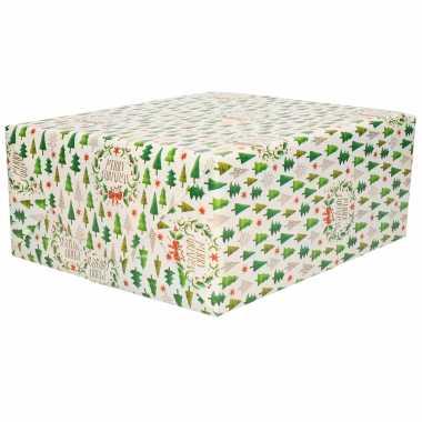1x rollen kerst cadeaupapier/inpakpapier wit met mini kerstboompjes print 200 x 70 cm